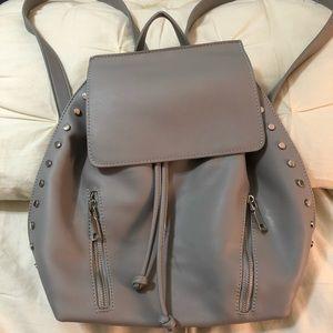 Handbags - Grey & Silver Studded Backpack Purse